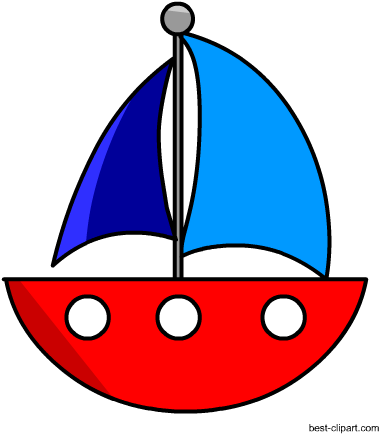 Blue boat. Download cute free red
