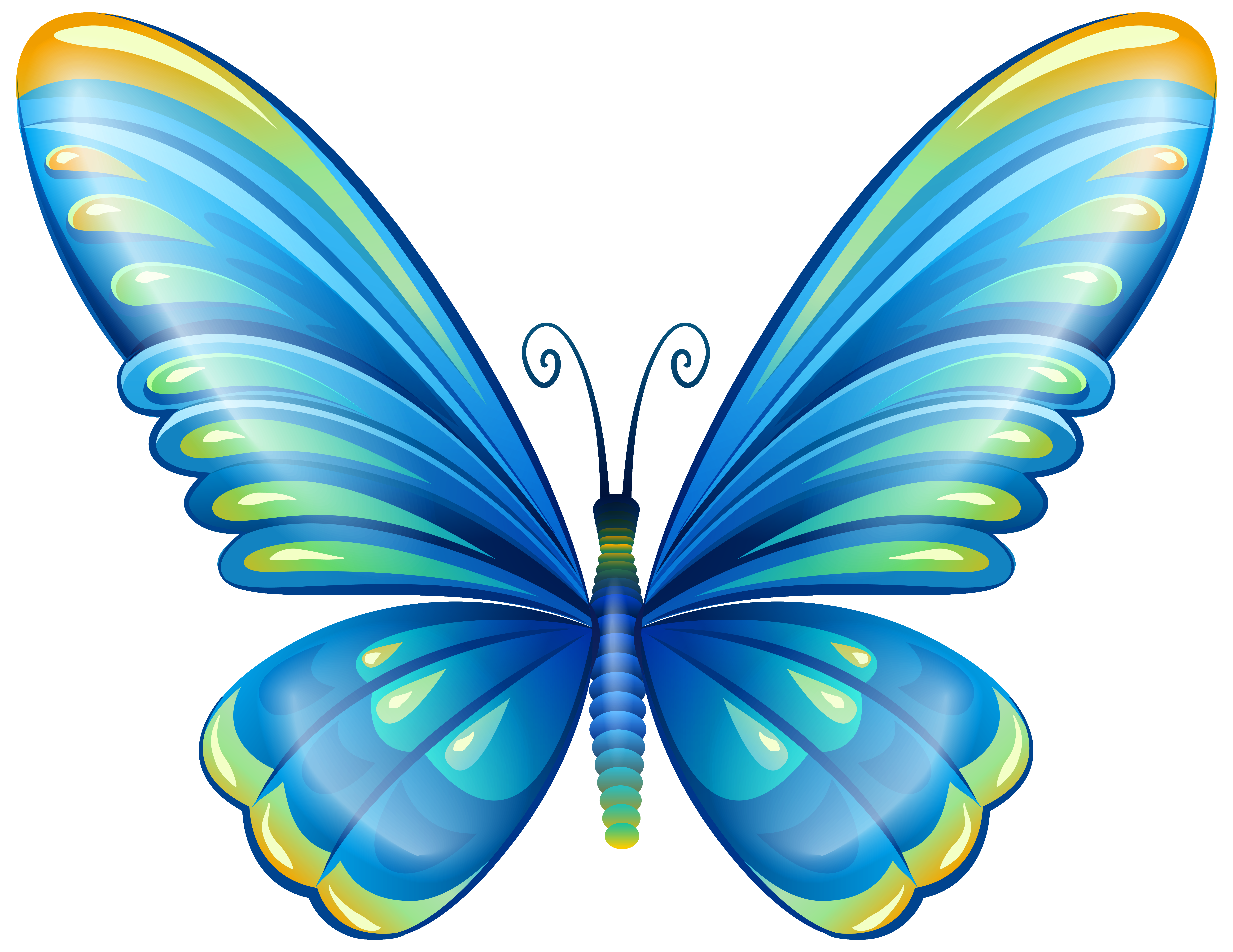 Blue butterfly png. Large art clip image