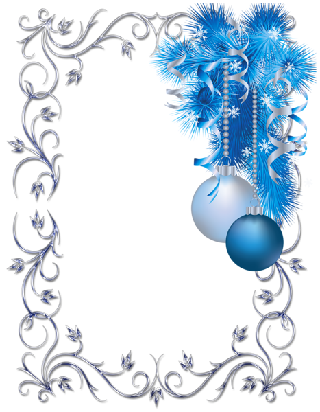 Blue christmas png. Transparent borders and frames