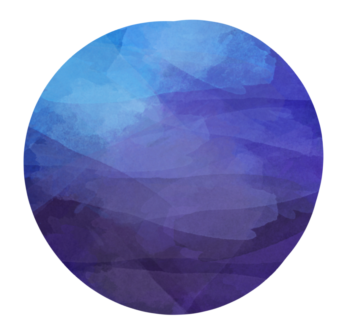 Blue circle. Watercolor dark clipart