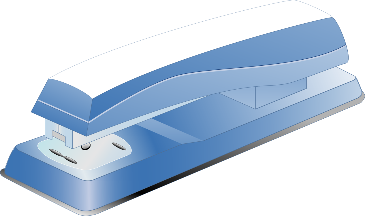 Blue clip stationery. Stapler paper pin free