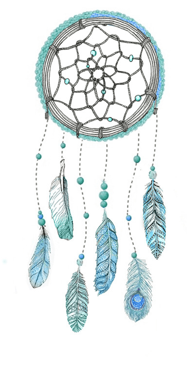 Blue drawing dream catcher. Png photos