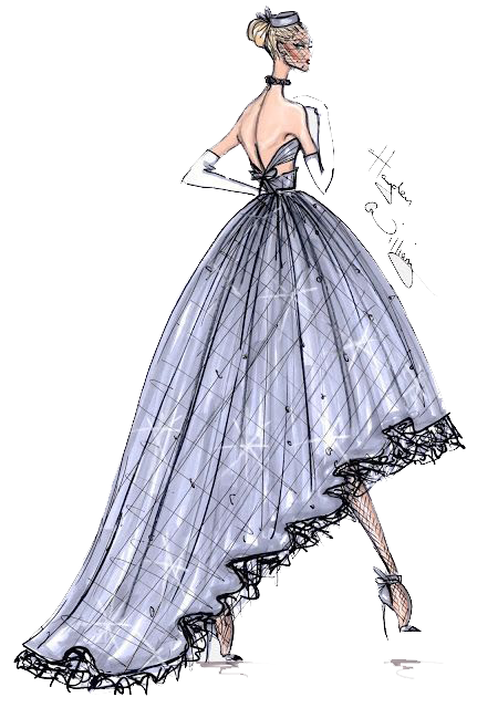 Drawing diary couture dress. Fashion illustration haute design