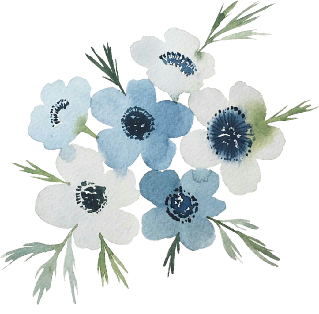 Blue drawing watercolor. Flowers spring cool nature