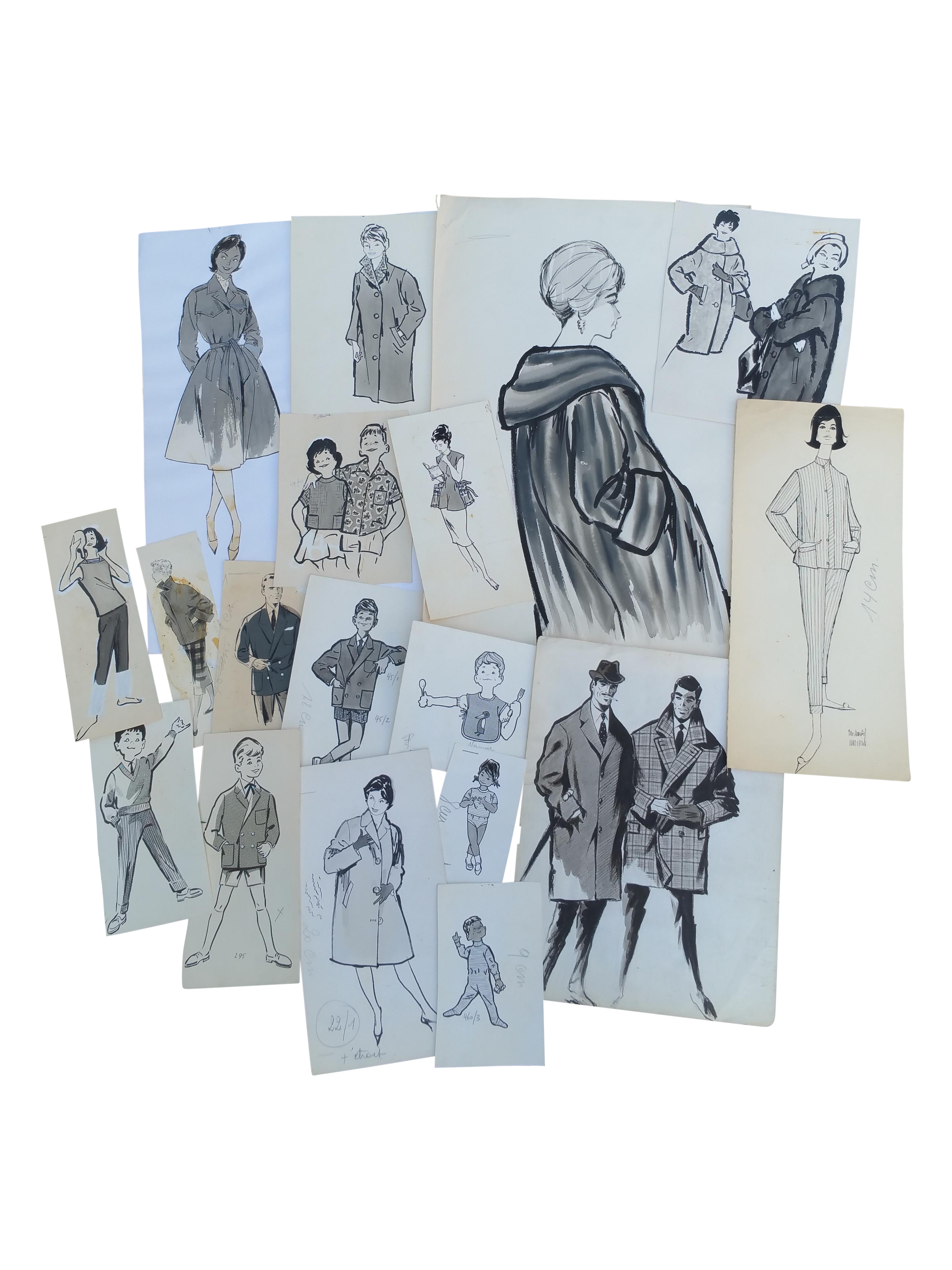 French drawing ink. Fashion pen and drawings