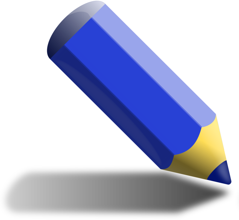Blue drawing pencil. Paper free commercial clipart