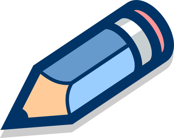 Blue drawing pencil. Tilted clip art at