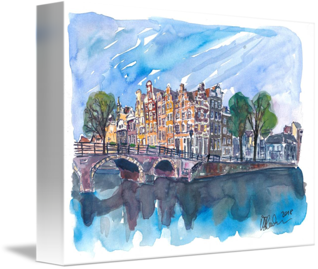 Drawing sunset sketch. Amsterdam netherlands canal on