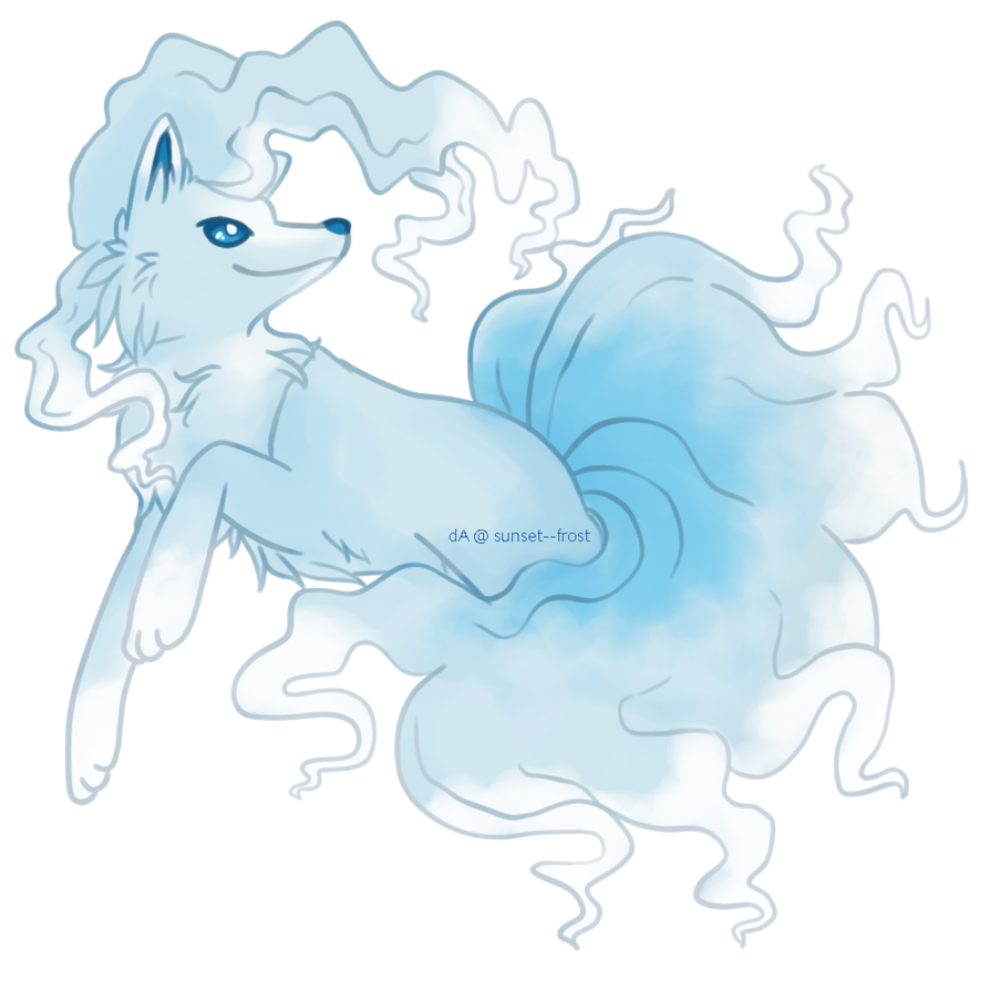 Blue drawing sunset. Alolan ninetales by frost