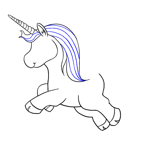 Blue drawing unicorn. How to draw a