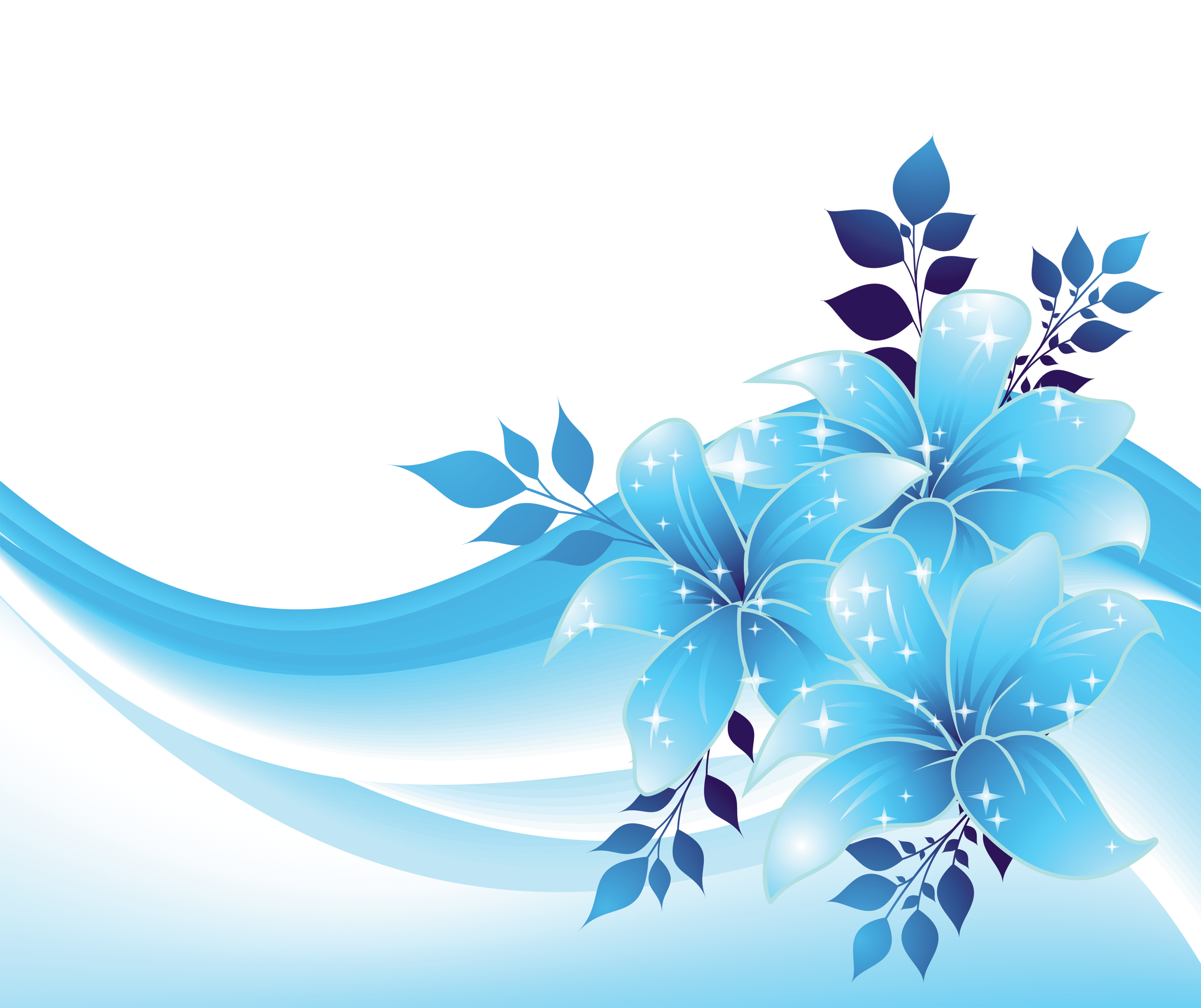 Decoration with flowers transparent. Blue png vector stock