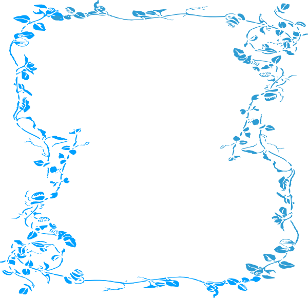 Border stock png. Blue floral free download