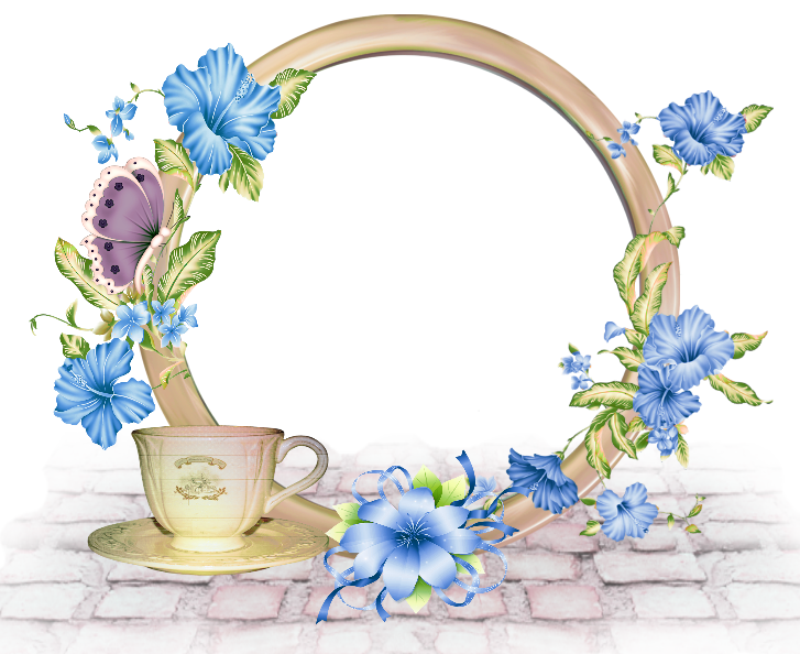 Blue flower border png. Cute round photo frame
