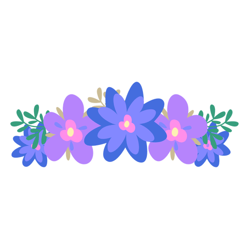 Blue flower crown png. Violet transparent svg vector