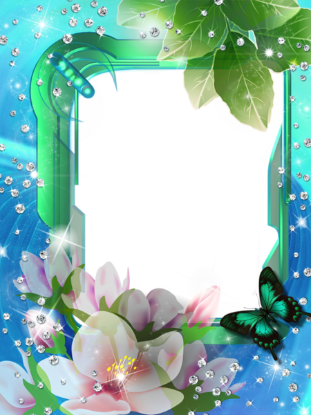 Blue flower frame png. Green transparent photo with