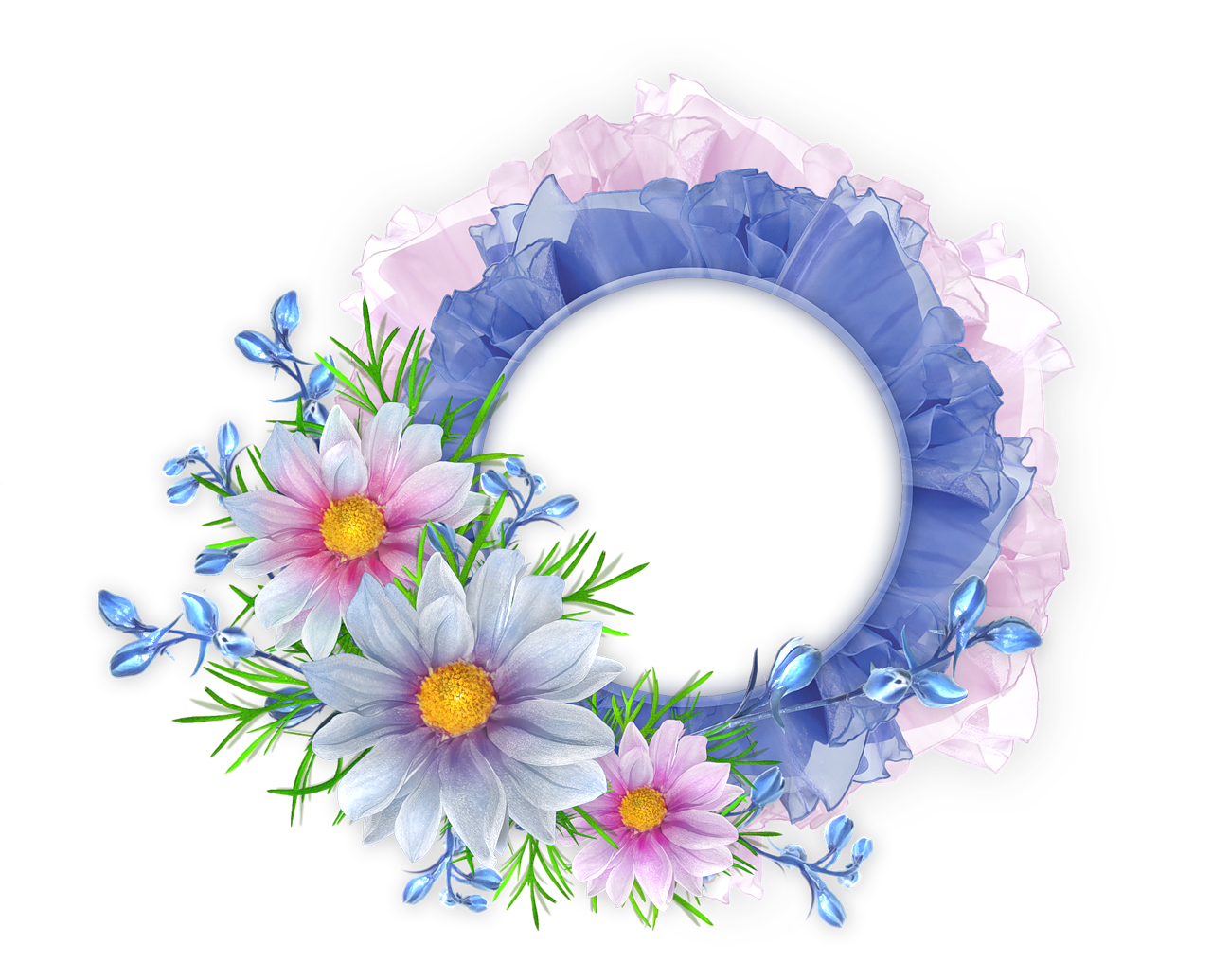 Blue flower frame png. And pink round transparent