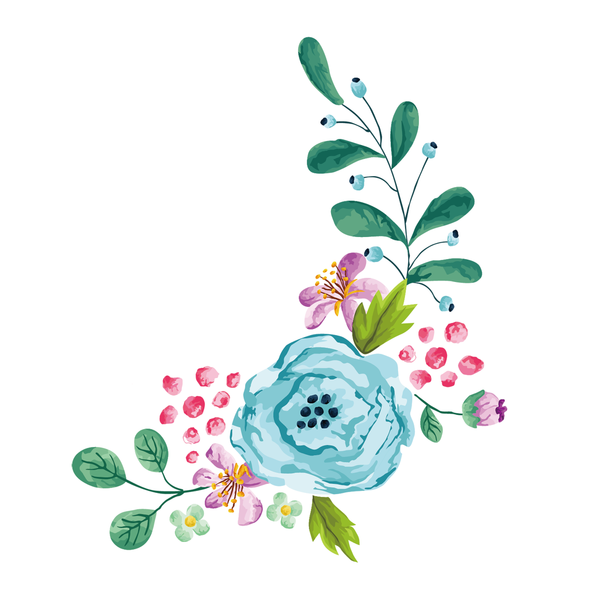 Peoplepng com. Blue watercolor flower png svg black and white download