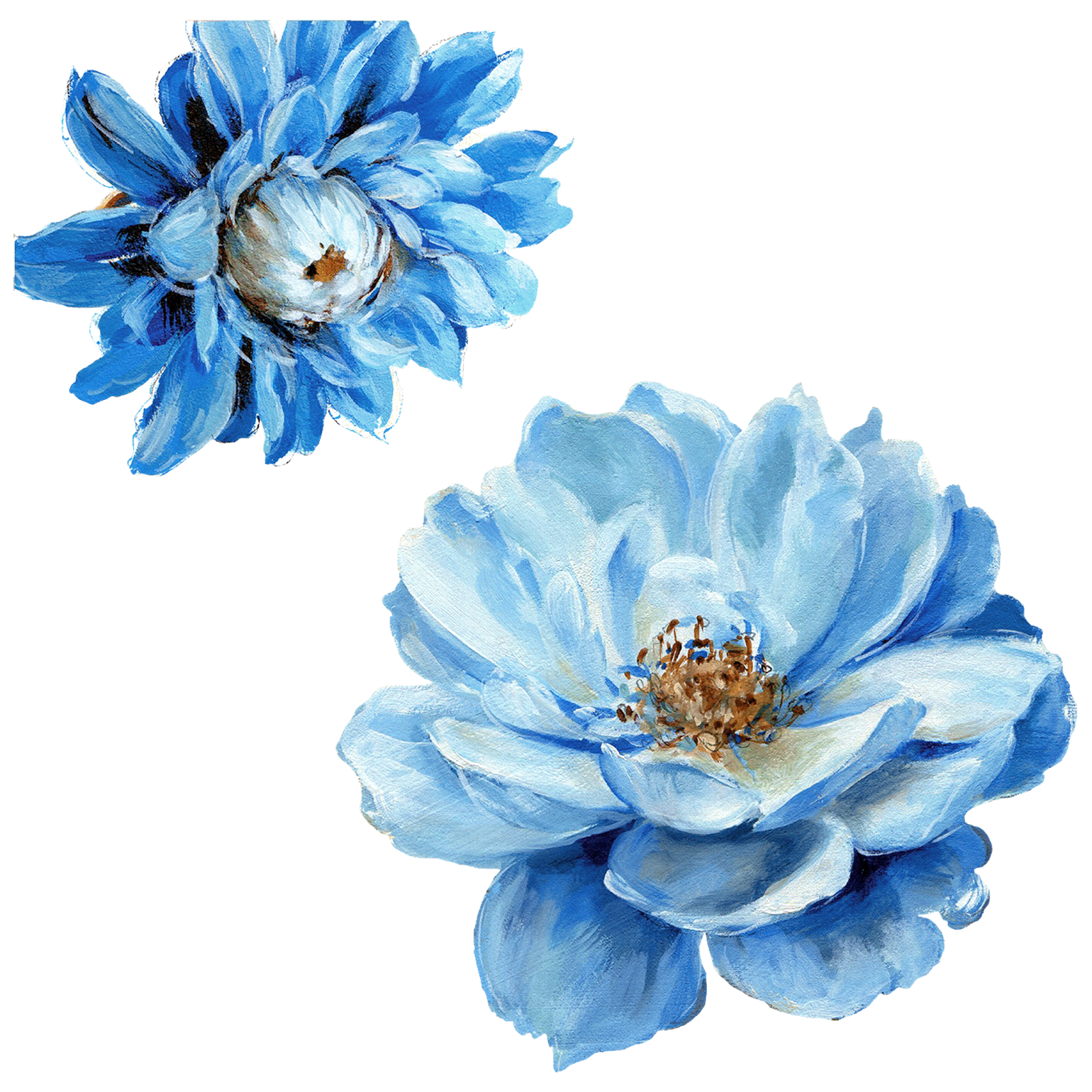 Blue flowers png. Flower painting by lisa