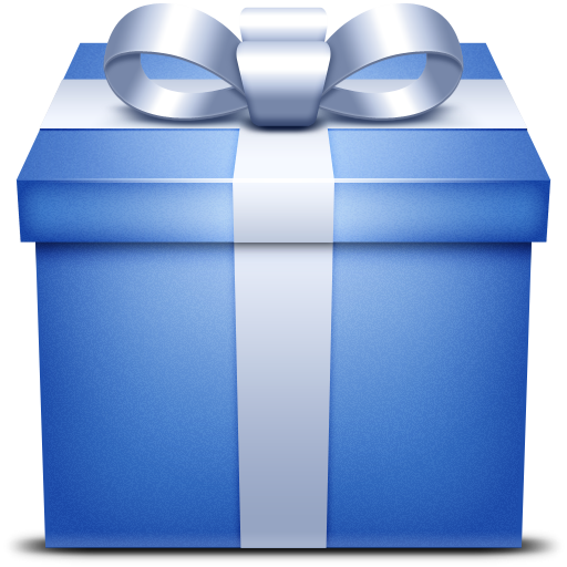 Blue gift box png. Present icon size