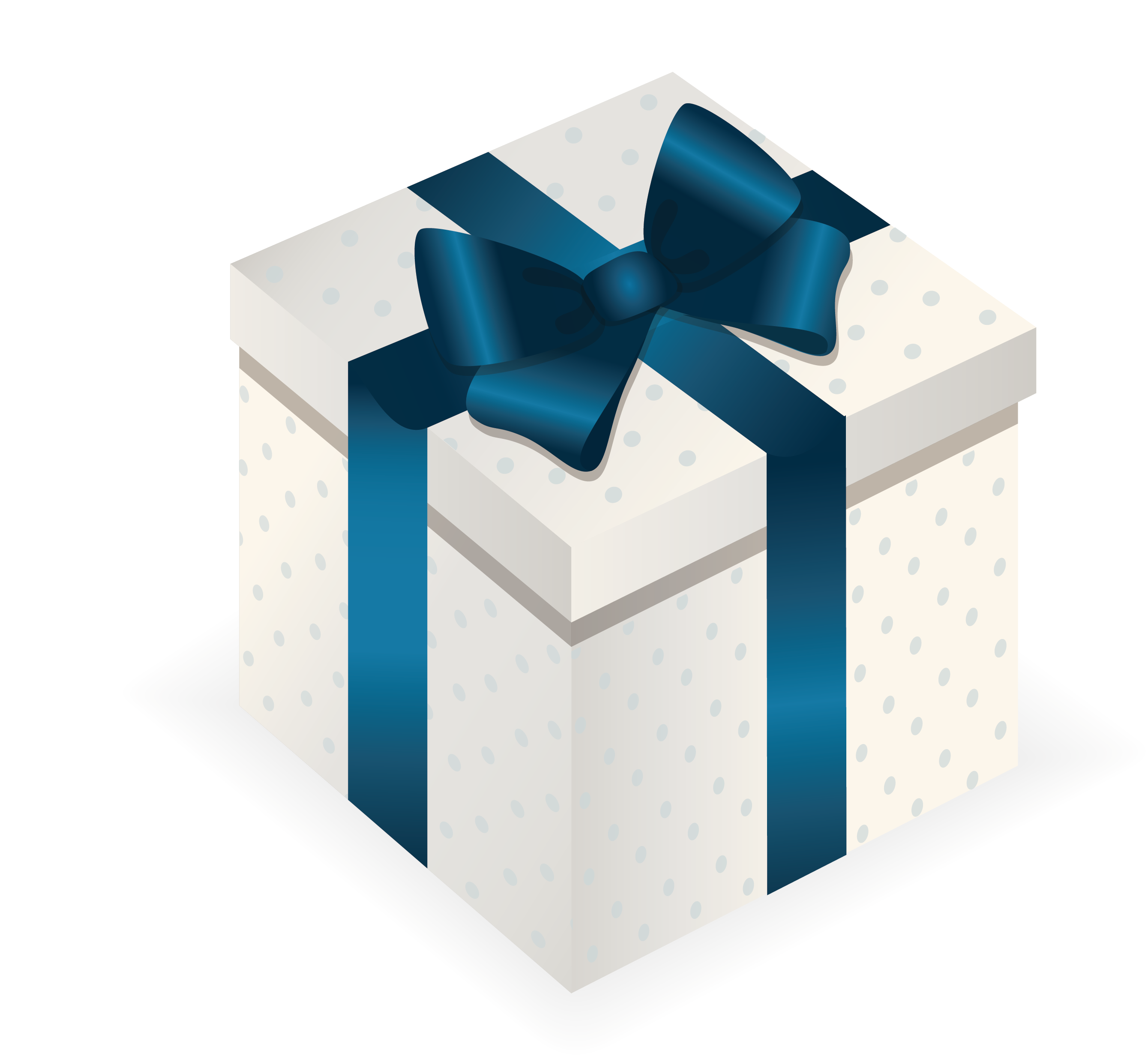 Blue gift box png. Christmas top view transprent