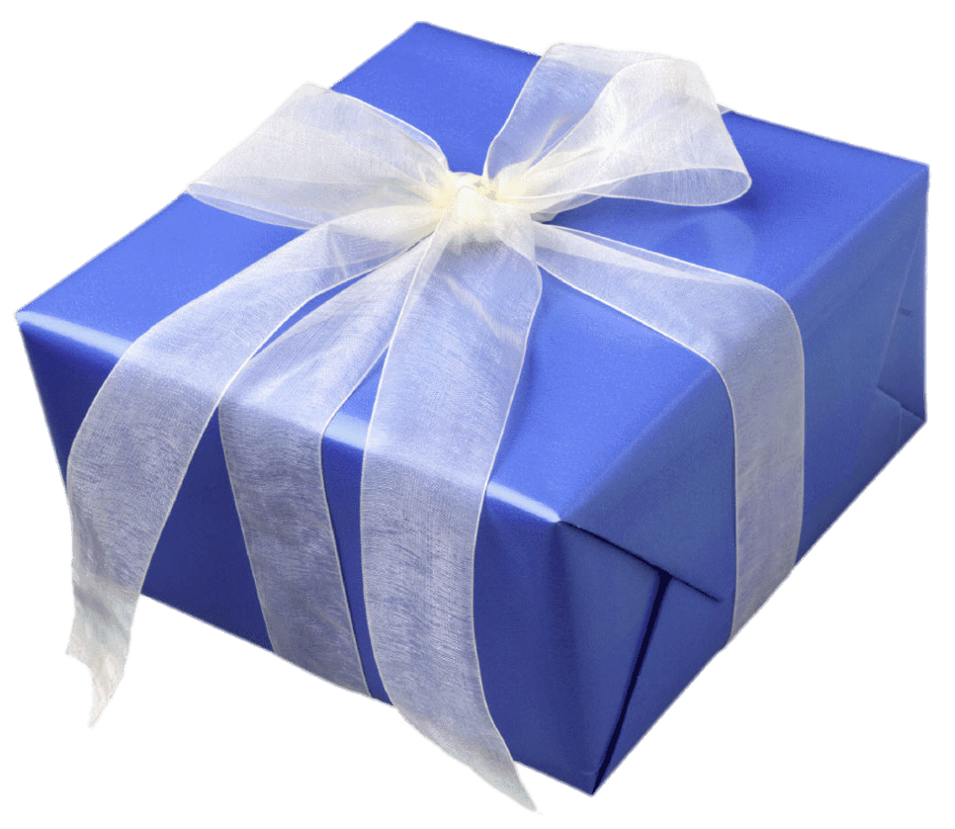 Blue gift box png. With white ribbon transparent