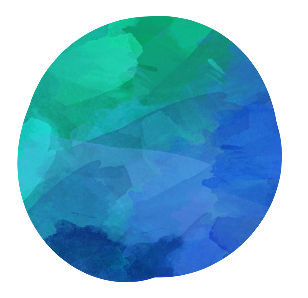 Blue green circle. Watercolor bluegreen clipart