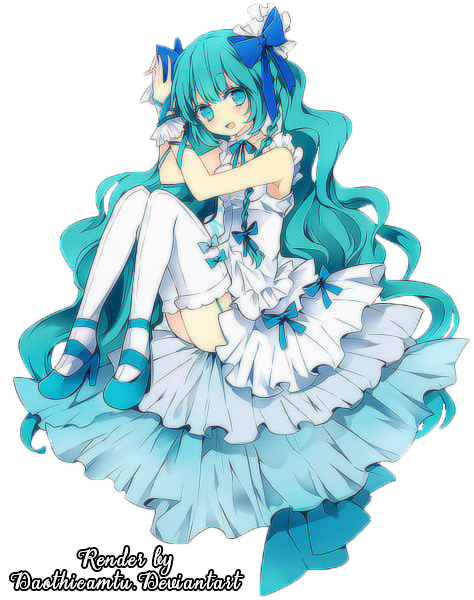 Blue hair anime girl png. Render with by daothicamtu