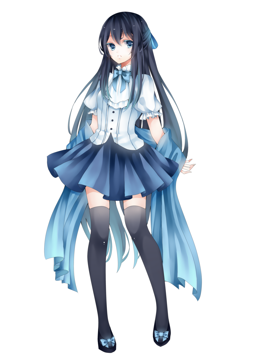 Blue hair anime girl png. Image render of an