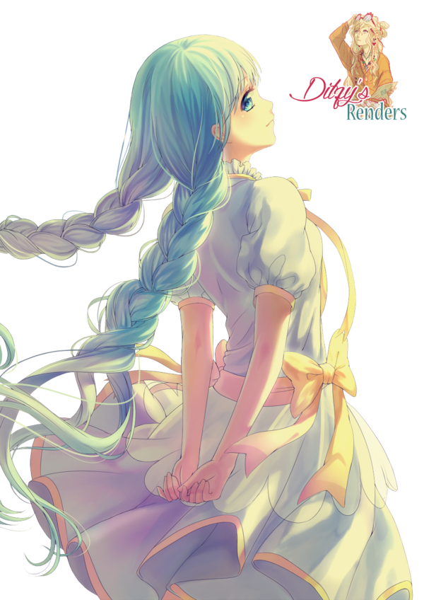 Blue hair anime girl png. With plaited render by