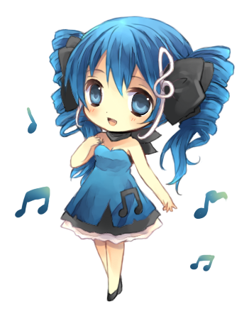 Blue hair anime girl png. With light and a