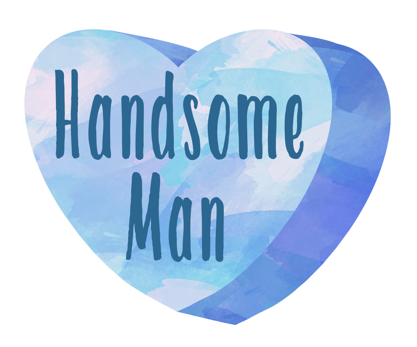 Blue heart candy clip art. Watercolor hearts handsome