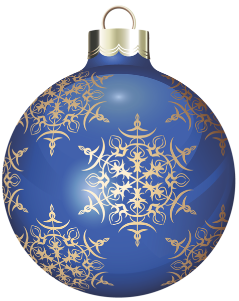 Blue holiday ornaments png. Transparent and gold christmas