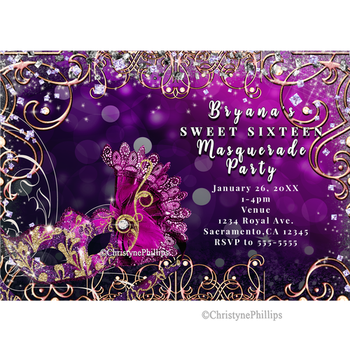 Blue masquerade party invitations png. Digital mask pink purple