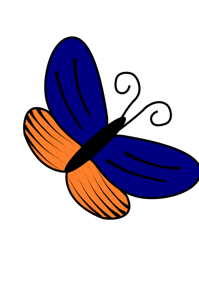 Blue orange. And butterfly clipart vector