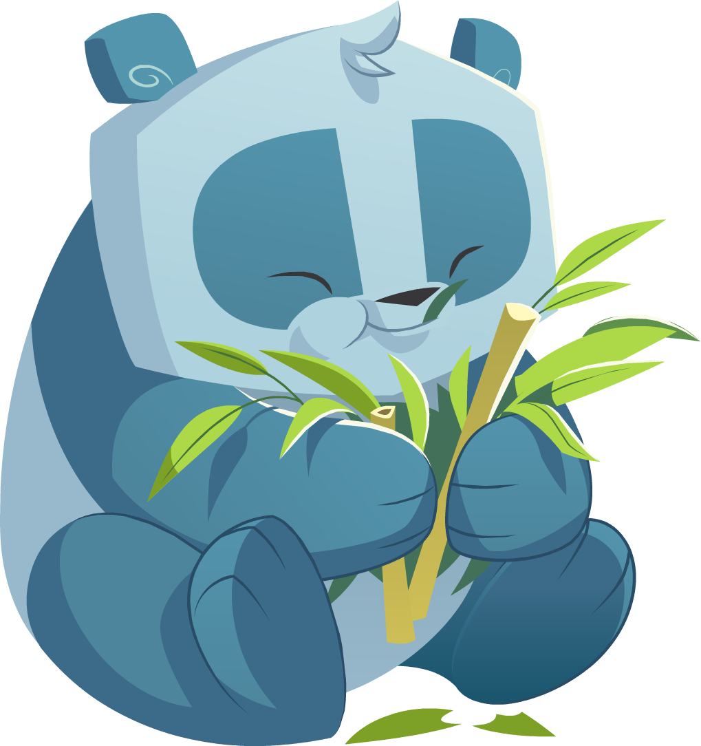 Blue panda png. Image eating bamboo animal