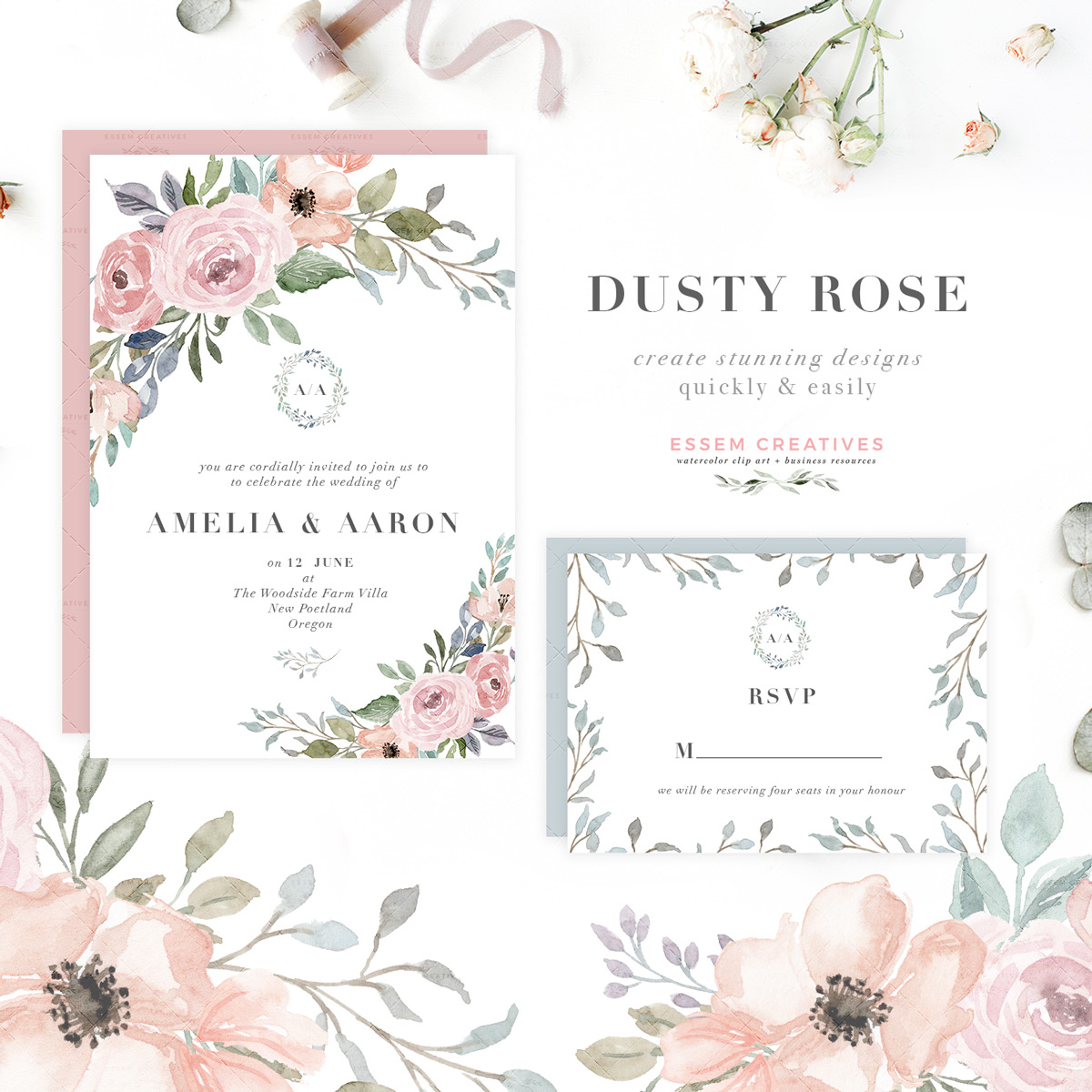 Blue peach. Dusty rose watercolor floral