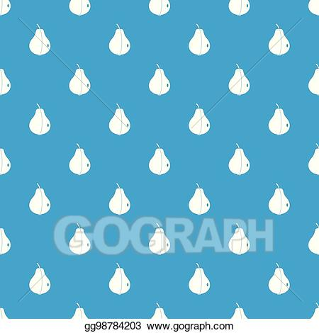 Blue pear. Vector art whole pattern