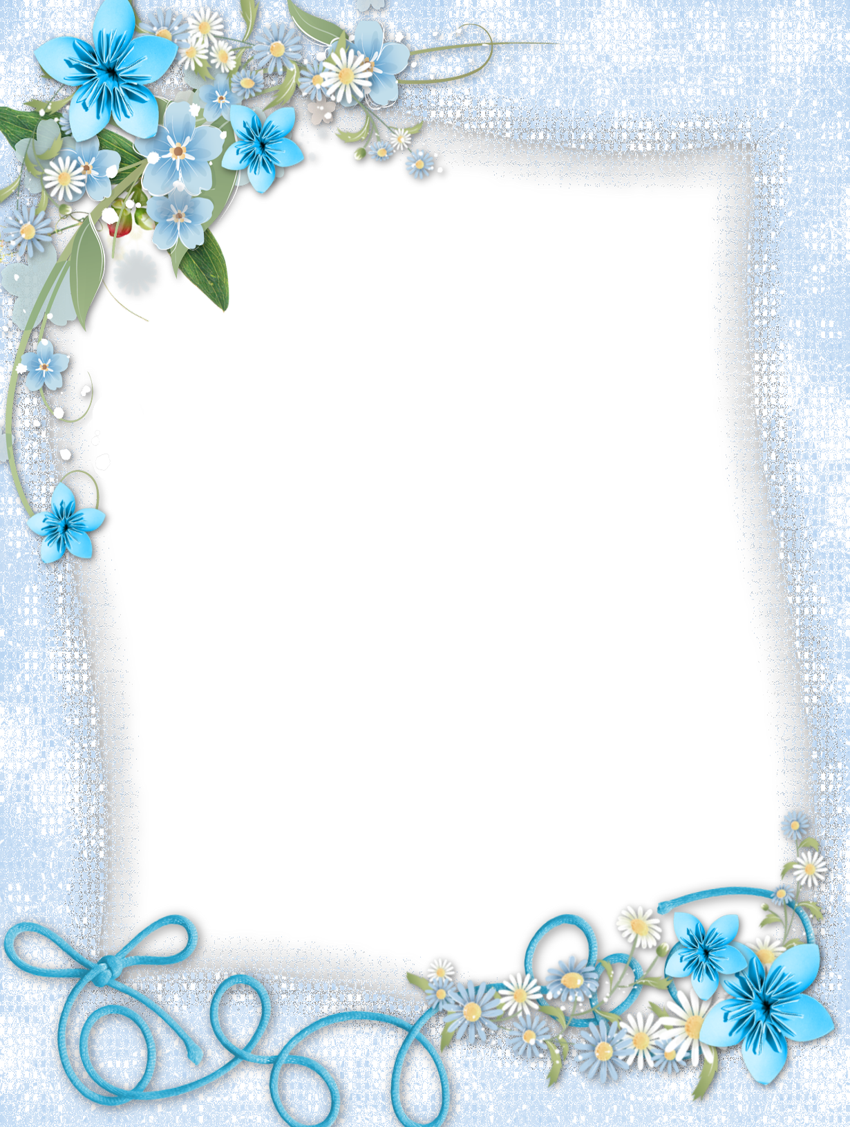 Blue photo frame png. Transparent with flowers gallery