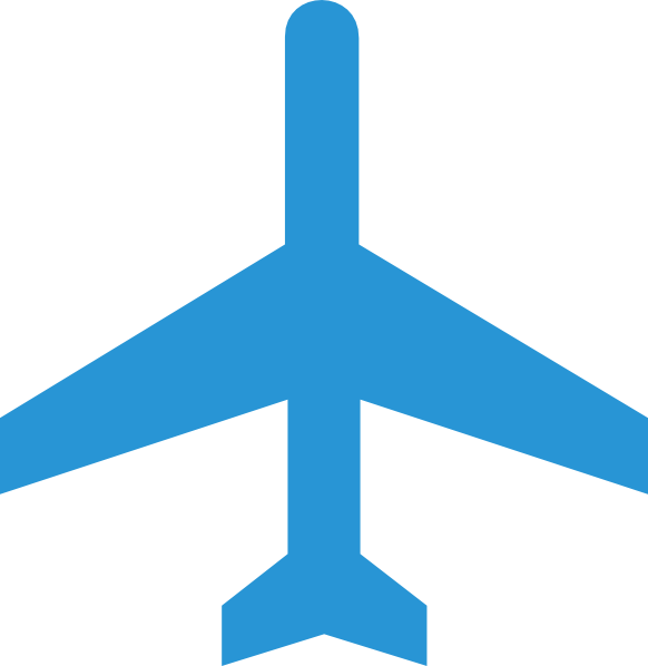 Blue aircraft. Airplane clipart vector png