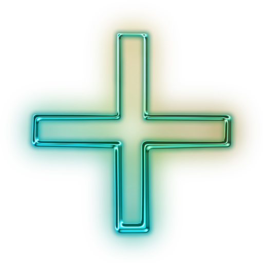 Plus sign image png. Glowing green neon icon