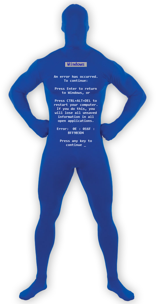 Blue screen of death png. Halloween costumes for sys