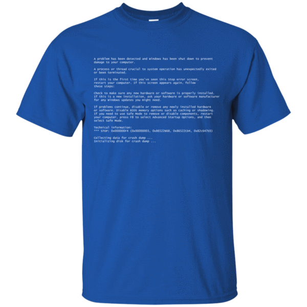 Blue screen of death png. Tee no in programming