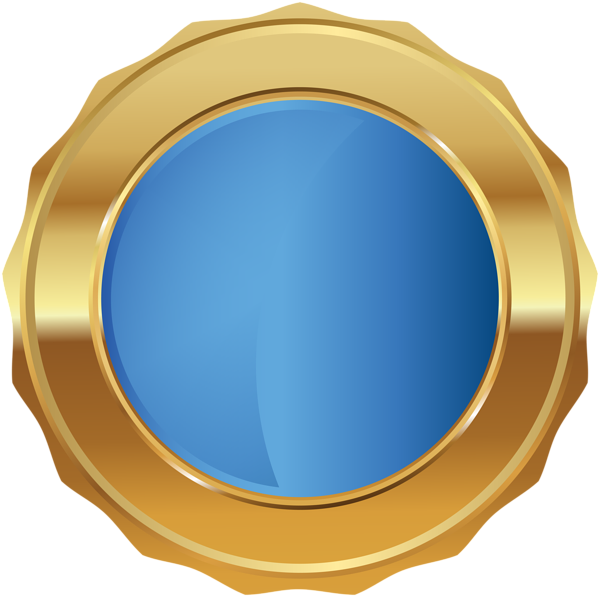 Blue seal png. Gold badge transparent clip