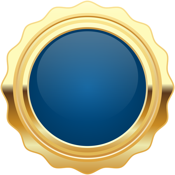 Blue seal png. Badge gold clip art