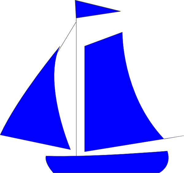 Blue ship. Sailboat clipart free download