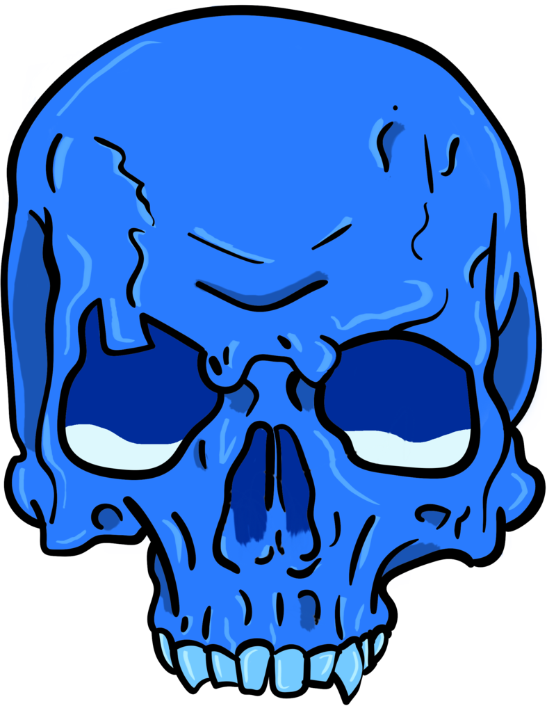 Blue skull png. Sad by skaletons on
