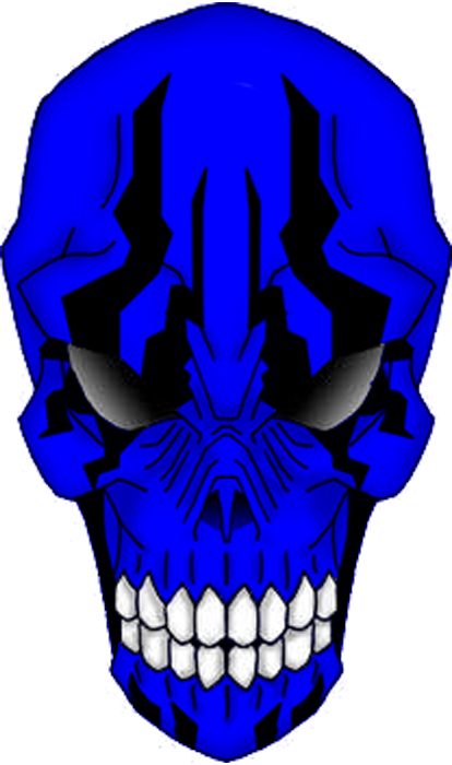 Blue skull png. A blu tribal by