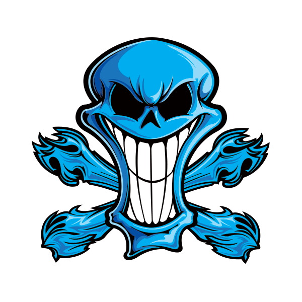 Blue skull png. Printed vinyl cartoon stickers