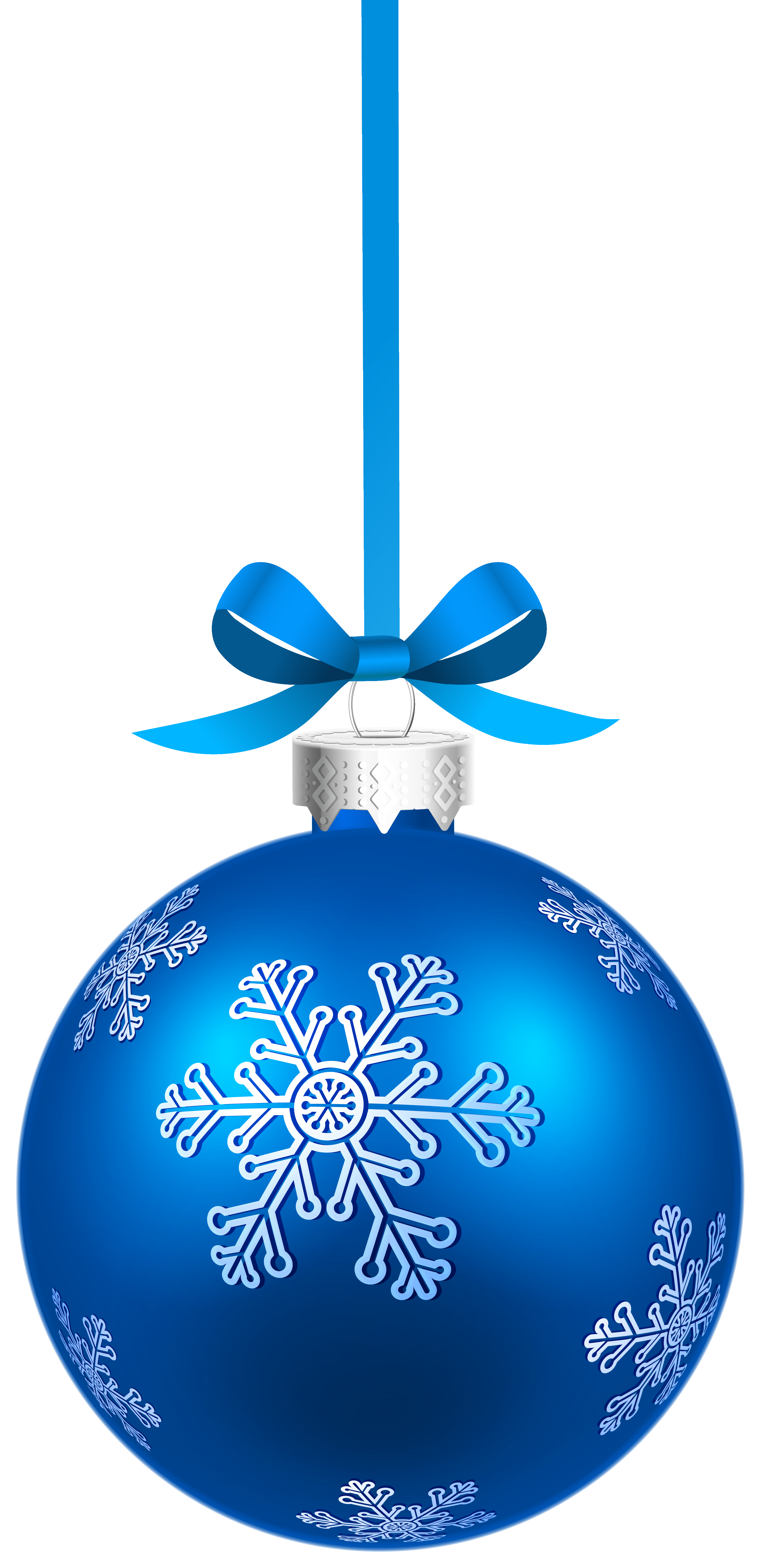 Christmas snowflakes png. Blue hanging ball with