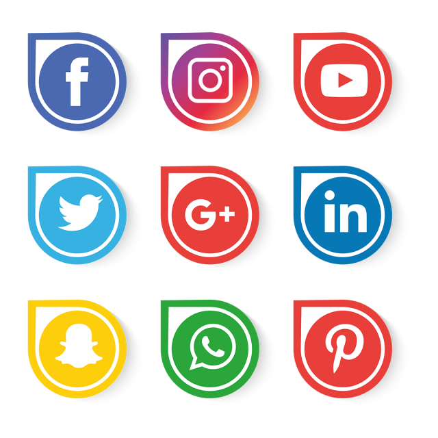 Media vector. Social icons set icon
